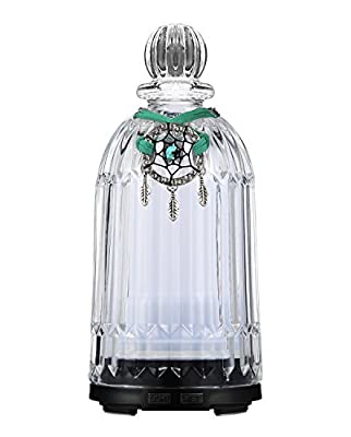 Glass Essential Oil Diffuser 120ml Fragrant Room Sprays Ultrasonic Aroma Mist Atomizer Humidifier for Improving Air Quality yoga Office Home Bedroom Baby Room 7 LED Night Light Waterless Auto Shut-off