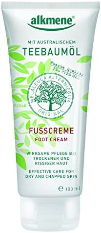 Tea Tree Oil Foot Cream with Shea Butter from Germany Vegan Paraben Free Antibacterial Deodorizing & Moisturizing For Dry, Chapped Feet Infused With Tea Tree Oil 100 ml by Alkmene