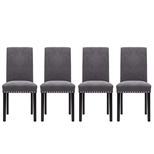 LSSPAID Upholstered Parsons Dining Chair with Polished Nailhead Wood Legs in Grey,Set of 4