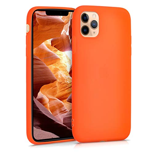 kwmobile TPU Silicone Case Compatible with Apple iPhone 11 Pro Max - Soft Flexible Protective Phone Cover - Neon Orange