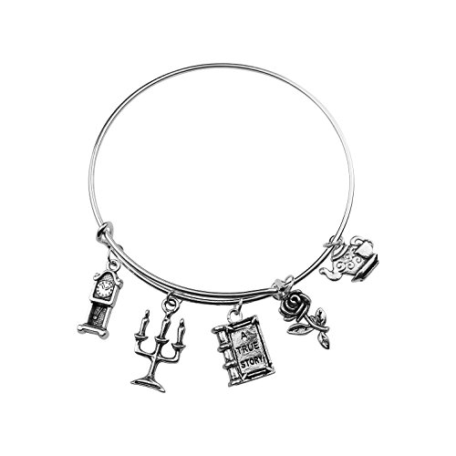 Art Attack Fairy Tale Bracelet, Rose Flower Floral Teapot True Love Story Clock Charm (Silver)