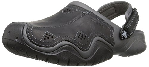 crocs Swiftwater Leather Clog Men's Clog, Graphite/Black, 10 M US