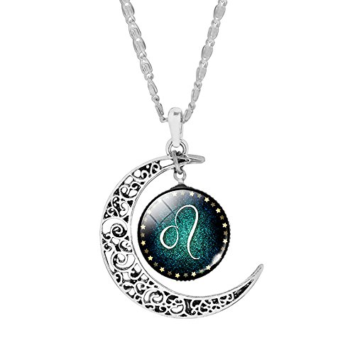 CAIYCAI Women Silver Plated Crescent Pendant Necklaces Jewelry Cabochon Glass Necklaces Collares 9 Crescent Fine China