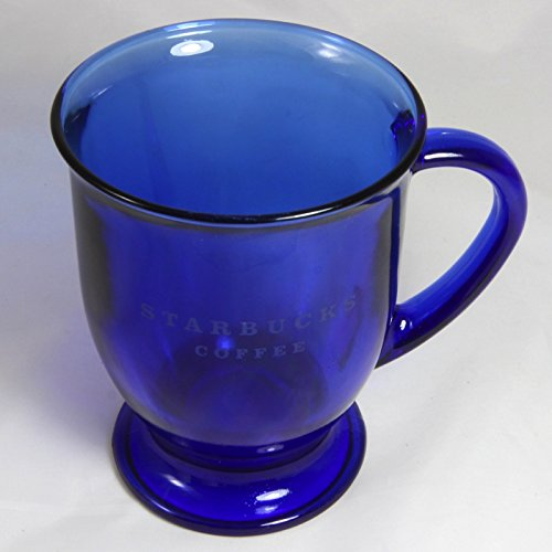 Starbucks Coffee Blue Glass Pedestal Footed Mugs Etched - Glass Pedestal Coffee Mugs