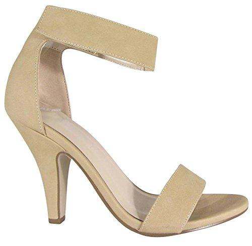 Cambridge Select Donna Open Toe Single Band Velcro Spesso Cinturino Alla Caviglia Conico Abito Tacco Alto Sandalo Natural Nbpu