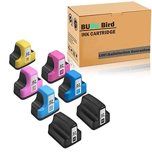 BUBU Bird 7 Pack Remanufactured Ink Cartridge Replacement for HP 02 Q7964AN for HP PhotoSmart C7280 C6280 C5180 C6180 D7360 D7460 8250 C7200 Printers (Black/Cyan/Magenta/Yellow/Light Cyan/Light Magent
