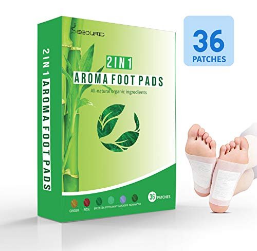 2 in 1 Aroma Foot Pads 36 Pack | Lavender, Rose, Mint, Green Tea, Ginger, Wormwood | Pain and Stress Relief | All Natural 100% Organic Aroma Foot Patches