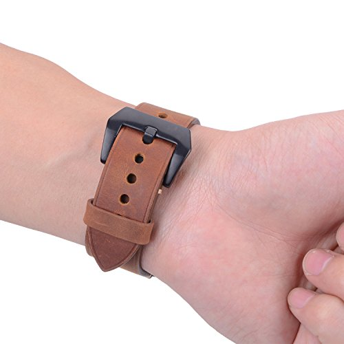 For 42mm Apple Watch Band, Genuine Leather iWatch Strap with Black Metal Clasp Buckle for Apple Watch Series 3 Series 2 Series 1 Sport Edition (42mm Dark Brown) by AMMZO (Image #4)