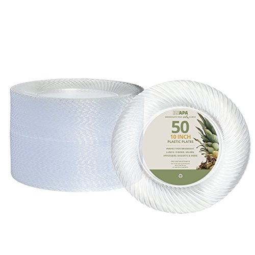 50 Premium Clear Plastic Plates for Dinner Party or Wedding - 10 Inch Fancy Disposable Plastics Plates