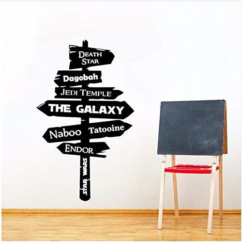 Ffdidy Star Wars Wall Decal Removable Galaxy Jedi Road Sign Vinyl Wall Sticker Hot Movie Decor Road Sign Wall Poster Vinyl Art 42X69Cm ()