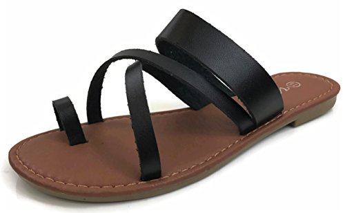 (Fashion Metric Toe Ring Sandal Slip On Over Toe Strap Criss Cross, Black, 8)
