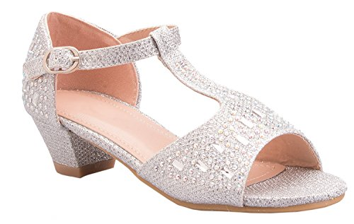 OLIVIA K Girls Glitter and Rhinestone Open Toe Wedge Heel (Toddler/Little Girl)