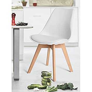 Set of 4 Eames Style Chair Natural Wood Legs Soft Padded Cushion Seat for Dining Room Chairs in WHITE – Mid Century Design