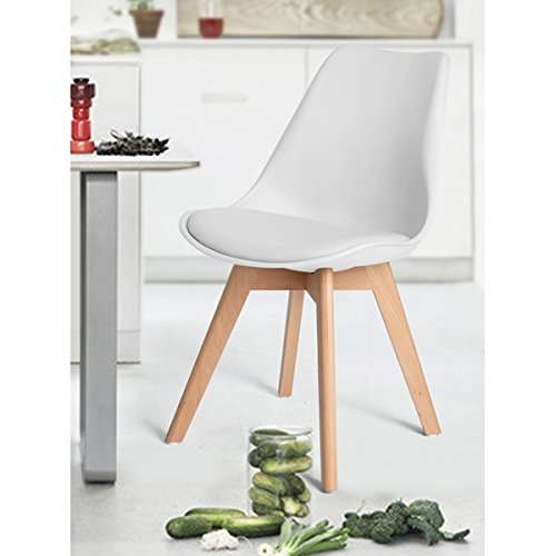 Homy Casa Set of 4 Eames Style Dining Chairs Modern Living Room Chairs Kitchen Dining Room White Homy Casa Inc.