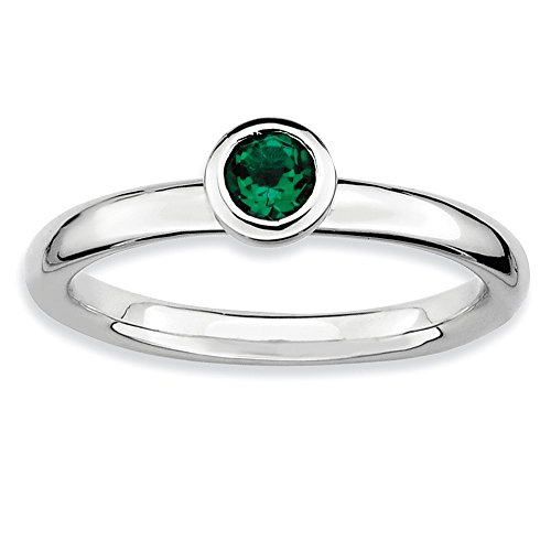 - Stackable Expressions Sterling Silver Low 4mm Round Simulated Emerald Ring - Size 8