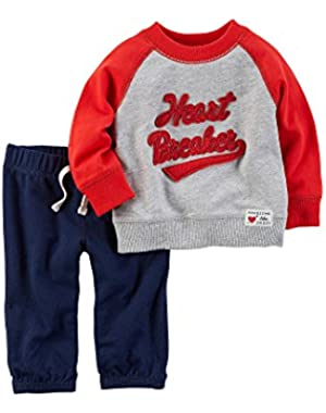 Carter's Baby Boys' 2-Piece Heart Breaker Sweatshirt and Pants Set