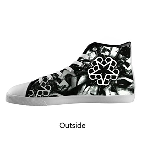 DONGMEN Black Veil Brides Rock Band Girls' Women's Canvas Shoes High Top Lace Up Breathable Sneakers US6