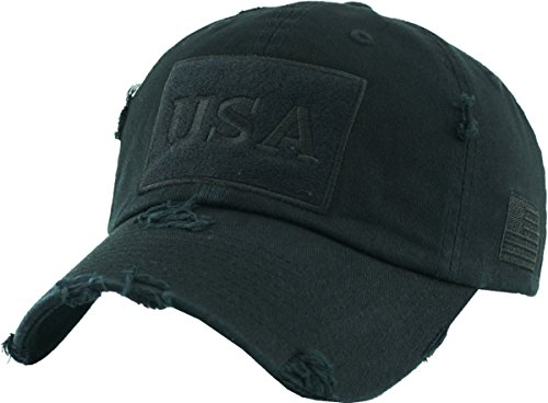 (KBVT-210 BLK Tactical Operator with USA Flag Patch US Army Military Baseball Cap Adjustable)