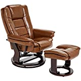 JC Home Argus Ultra-Plush Bonded Leather Swiveling Recliner with Mahogany Wood Base and Matching Ottoman, Cinnamon Spice