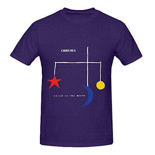 Chris Rea Wired To The Moon 80s Men Crew Neck Big Tall T Shirts Purple