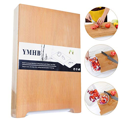 Bamboo Cutting Board - Cutting Board with Trays - Easy Waste Removal & Faster Food Prep Time, For Meat Vegetables Bread or Cheese Board (15X11 inch) by YMHB