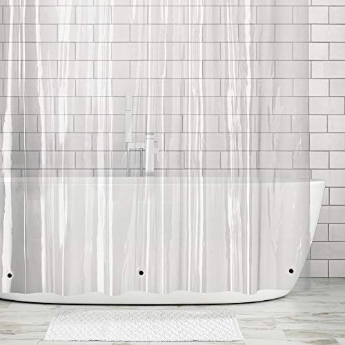 mDesign Long Waterproof, Heavy Duty Premium Quality 4.8-Guage Vinyl Shower Curtain Liner for Bathroom Shower Stall and Bathtub - 72