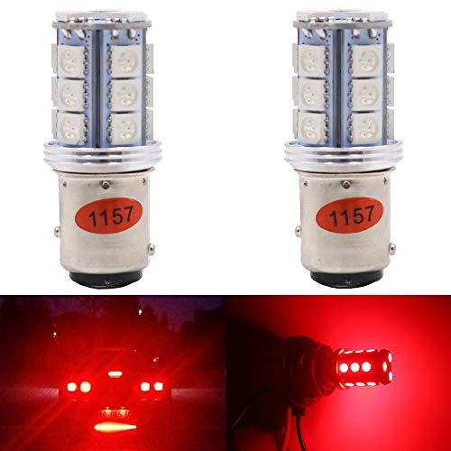 AMAZENAR 2-Pack 1157 BAY15D 7528 2057 2357 Brilliant Red LED Light,Non-Polarity 10-30V-DC 5050 18 SMD Replacement Bulb For Brake Light Tail Lamps