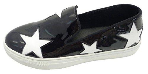 Cambridge Select Femmes Slip-on Fermé Bout Rond Motif Étoile Mocassins Mode Sneaker Noir