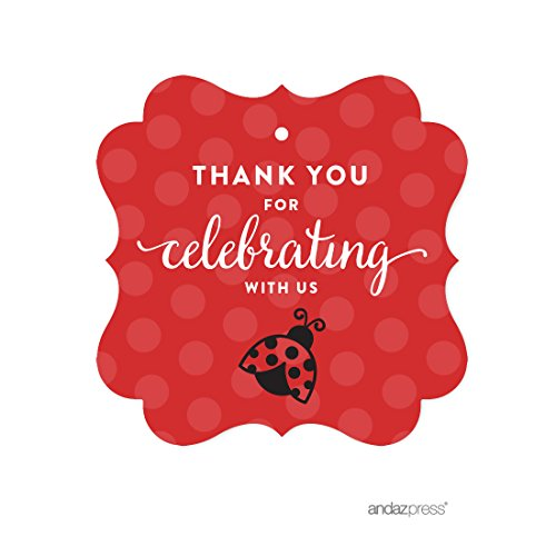 Andaz Press Birthday and Baby Shower Fancy Frame Gift Tags, Thank You for Celebrating With Us, Ladybug, 24-Pack, For Gifts and Party Favors (Ladybug Baby Shower Favors)