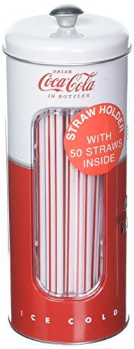 (Coca-Cola Collectible Tin Straw Holder with 50 Straws (Style 2) by Coca-Cola)