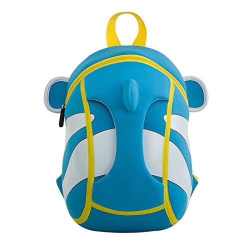 Kids clown fish Backpack 3D Cute Zoo Cartoon School Boys Girls Bags