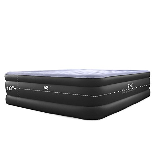 SR Wellness 1800 Series Queen Size Air Mattress - Best Inflatable Airbed with Built-In Electric Pump - 18