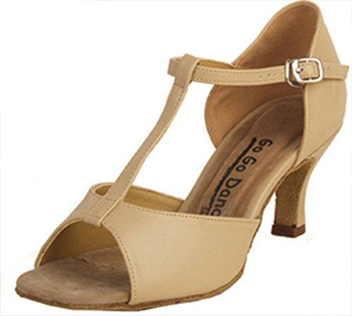 Chaussure De Danse De Salon Latine T-strap (6.5, Tan)