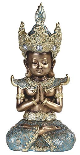 Gifts of Nature Gold Thai Buddha Headdress Meditating Praying Double Lotus Figurine 10.5