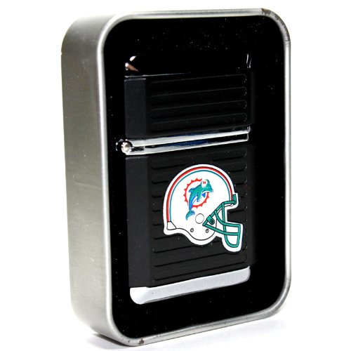 NFL Miami Dolphins Refillable Butane Torch Lighter with Tin Gift Box - Factory New - 2 1/4 Inch Height (Same Day Delivery Miami)