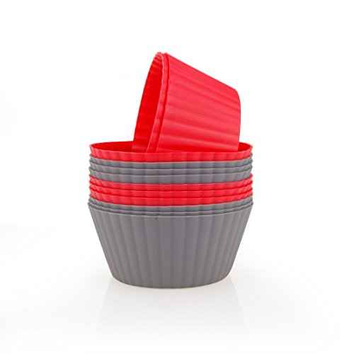 - Mirenlife 12 Pack Reusable Nonstick Jumbo Silicone Baking Cups, Cupcake and Muffin Liners, 3.8 Inch Large Size, in Storage Container, Red and Dark Gray Colors, Round