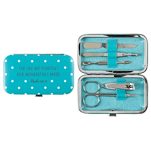 Wonderfully Made Psalm 139:14 Polka Dot Turquoise 4 x 2.5 Inches 5 Piece Manicure Set ()
