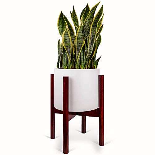 Mid Century Plant Stand and Pot Included Drainage Hole | Mid Century Modern Plant Stand with Large Ceramic Planter | Matte White Planter Pot | 10 inch Modern Planter Large ()