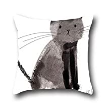 Ciwei Robby Black Cat Art Painting Body Pillow Replacement Cover 100% Cotton ( 18*18 )