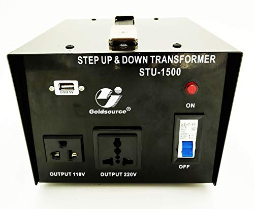 1500W Auto Step Up & Step Down Voltage Transformer Converter, STU-C Series Heavy-Duty AC 110/220V Converter with US Standard, Universal, Schuko AC Outlets & DC 5V USB Port by Goldsource -
