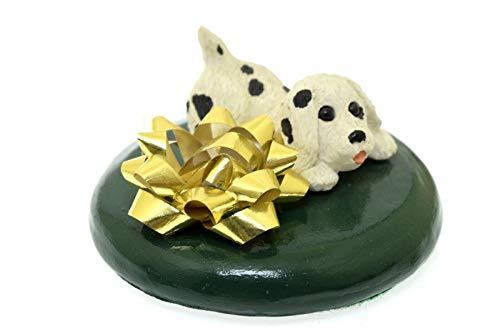 Byers Choice Puppy Dog Dalmatian Black White Spots w/Gold Bow