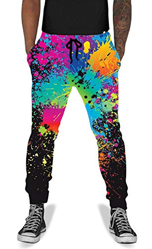 UNIFACO Men Women 3D Printed Splatter Baggy Jogger Pants Cool Active Sports Sweatpants Black ()