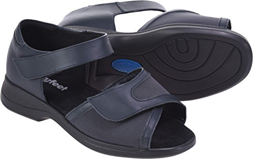 Cosyfeet New Hop Sandals - Extra Roomy (Eeeee+ Width Fitting) Navy Leather/Elastane zceB0LNlAq