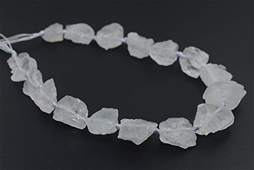 Natural White Clear Quartz Crystal Nugget Raw Graduated Beads Strand 2mm Hole - Nugget Beads Large