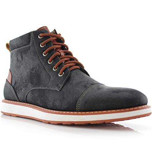 Specification Desert Boot - Ferro Aldo Birt MFA506027 Mens Memory Foam Casual Mid-Top Sneaker Desert Vegan Leather Chukka Boots Black