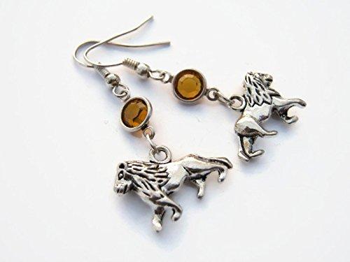 Lion Birthstone Earrings, Personalized Safari Earrings, African Animal
