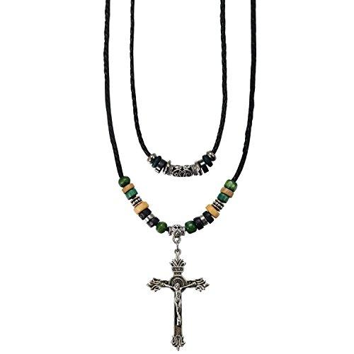 Aroncent Tribe Adjustable Ethnic Hemp Leather Wood Beads Beaded Choker Necklace,Black,Cross Pendant