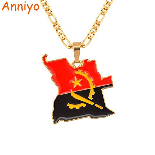LTH12 Pendant Necklaces - Angola Map & Flag Necklace Gold Color African Pendant Jewelry Angolan Country Maps for Women/Men #115906 1 PCs -