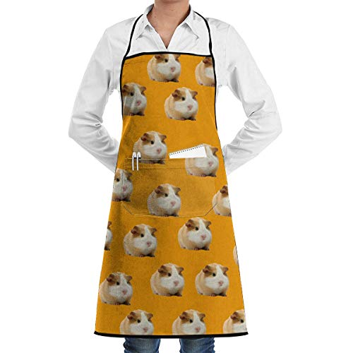 Mcdorty Cute Guinea Pigs Kitchen Apron with Convenient Pocket for Women/Men Professional Chef Apron for Cooking Grill and Baking ()