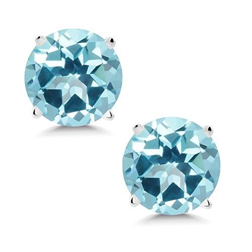 14K White Gold Earrings Set with Round Ice Blue Topaz from Swarovski